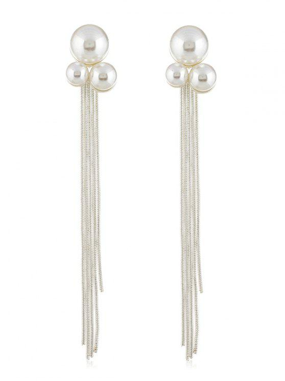 Fake Pearl Chain Tassel Long Earrings - Plata