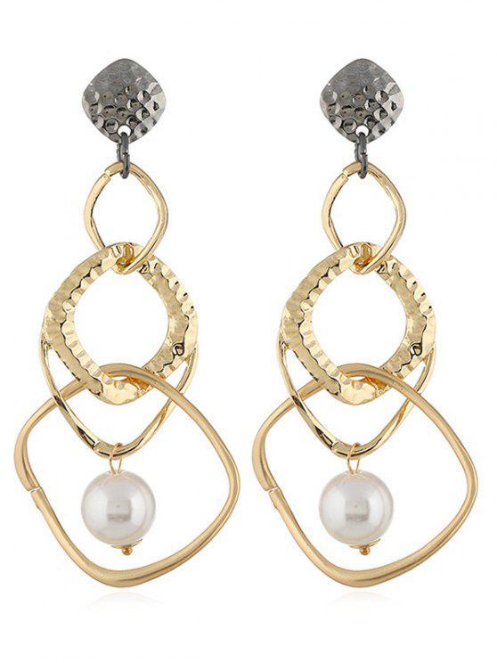 Pendientes de gota de forma geométrica perla artificial - Oro