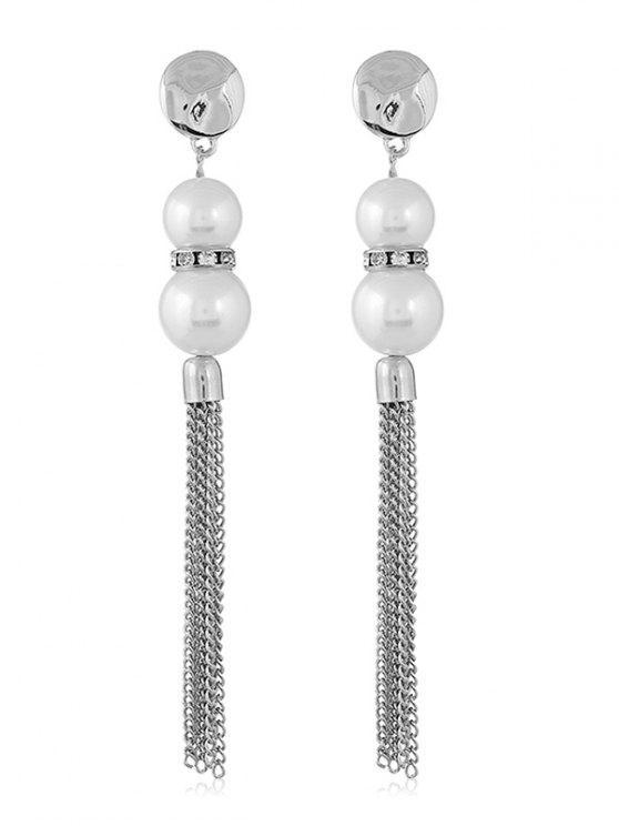 Orecchini Pendenti Con Perle Finte E Frange Di Catene Lunghe - Argento