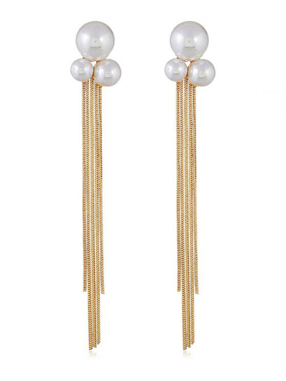 Fake Pearl Chain Tassel Long Earrings - Oro