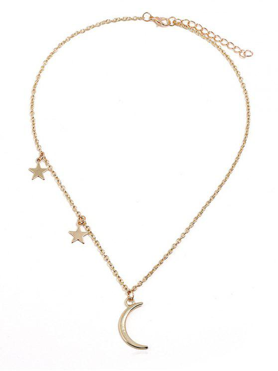 fancy Crescent Moon Stars Design Chain Necklace - GOLD