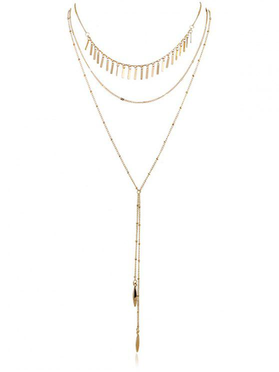 unique Multilayer Chain Pendent Necklace - GOLD