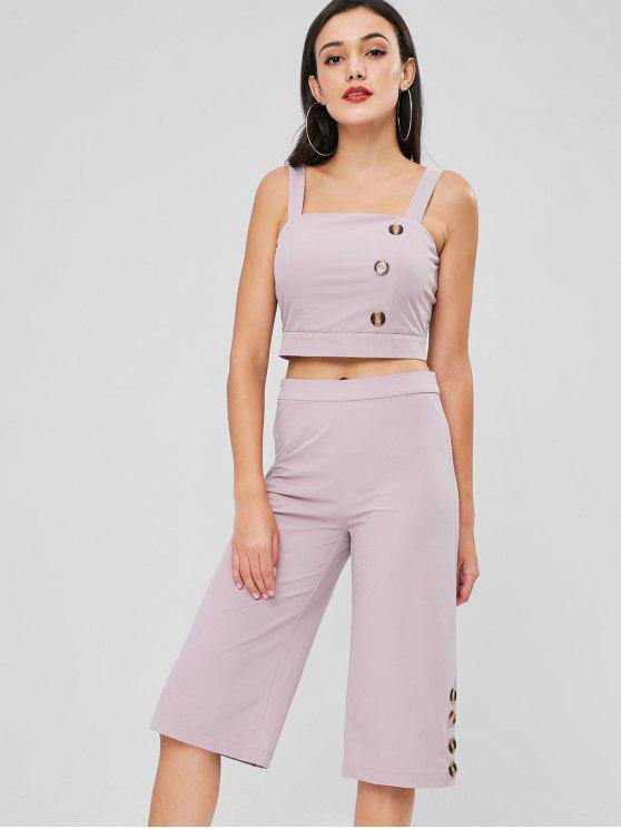 women Buttons Crop Top Pants Set - THISTLE L