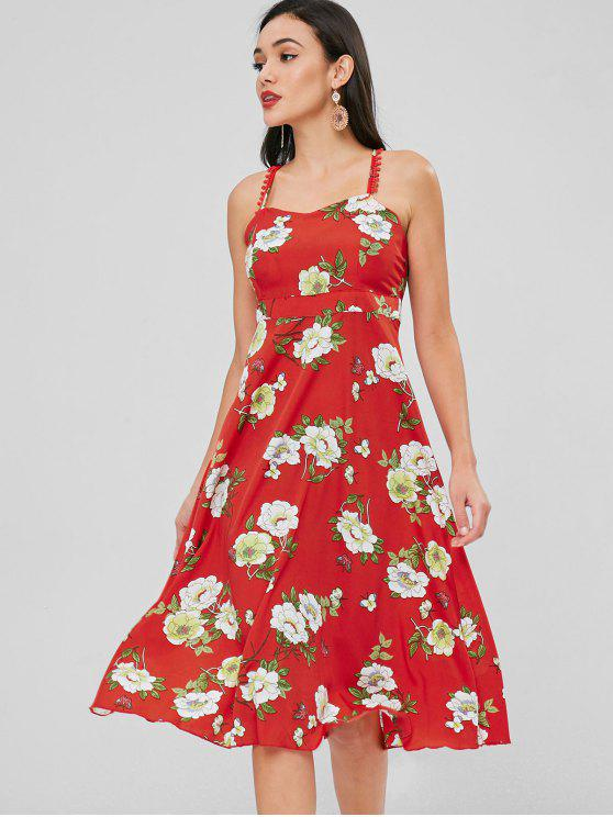 outfits Floral Cross Strap Flowy Dress - RED L
