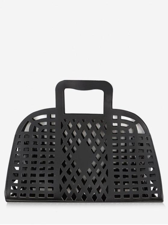 hot Going Out Picnic Breathable Hollow Out Tote Bag - BLACK