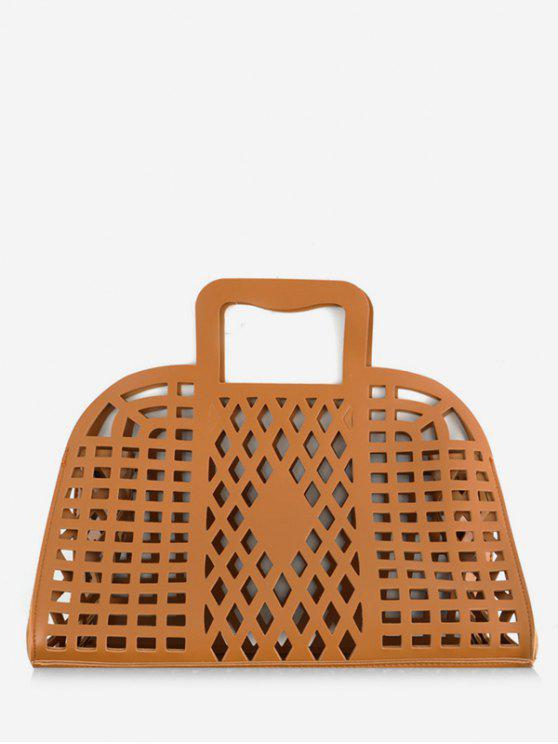 latest Going Out Picnic Breathable Hollow Out Tote Bag - BROWN