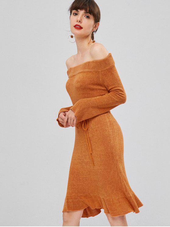 trendy Off Shoulder Belted Sweater Dress - PUMPKIN ORANGE L