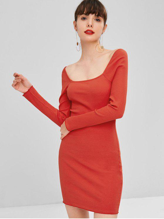 best Square Neck Ribbed Dress - RED L