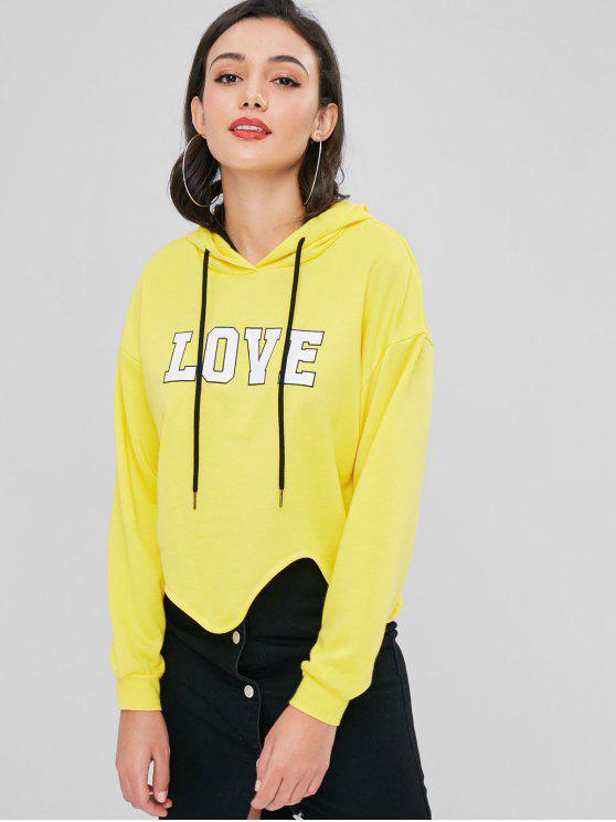Asymmetrische Love Grafik Hoodie - Gelb L