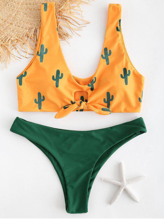 outfits Cactus Print Contrast Knot Bikini Set - BEE YELLOW S