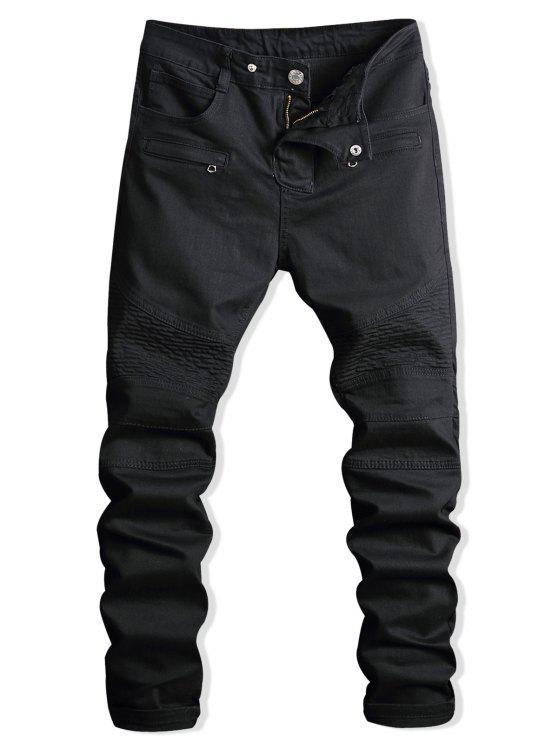 Paint Zip verschönert Biker Jeans - Schwarz 34