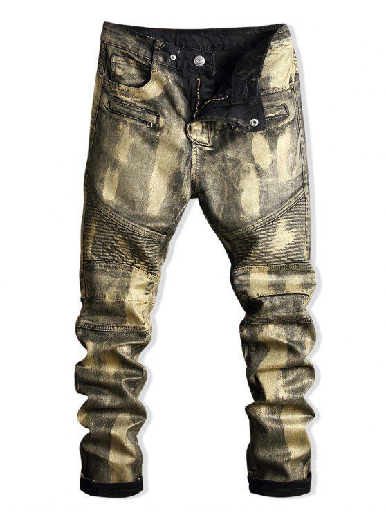 online Paint Zip Embellished Biker Jeans - GOLD 34