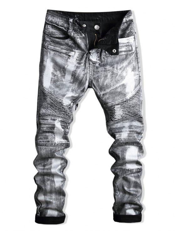 outfits Paint Zip Embellished Biker Jeans - SILVER 34