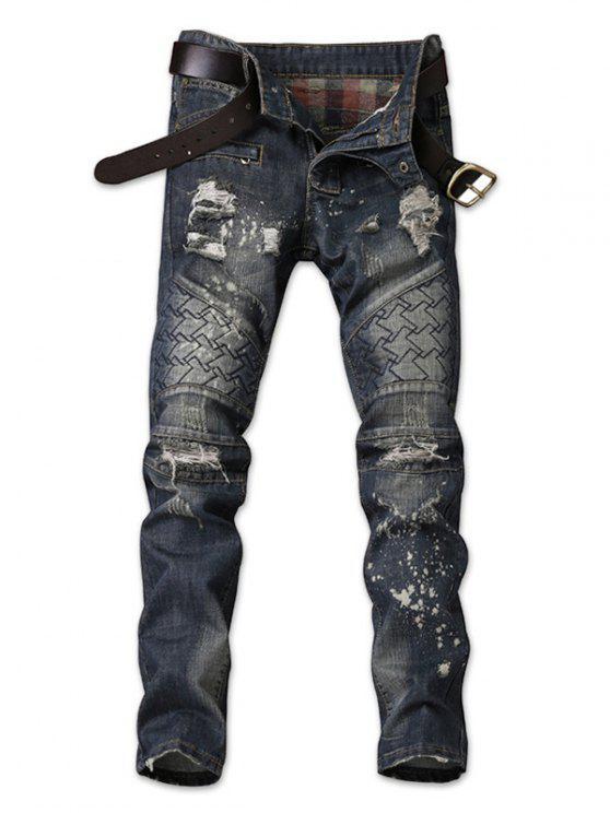 309cb47a4c0 Paint Splatter Print Distressed Tapered Fit Jeans - Denim Dark Blue 38