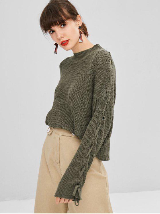 shops Mock Neck Lace Up Sweater - ARMY GREEN ONE SIZE