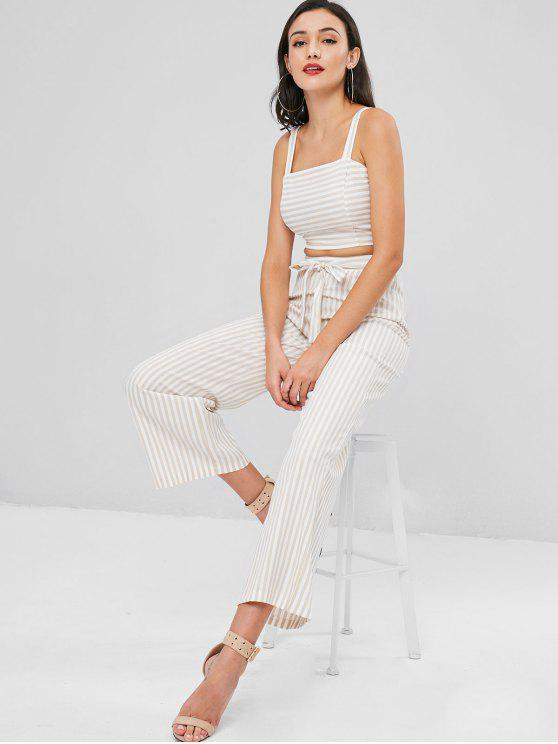best Striped Crop Tank Top and Pants Set - APRICOT S