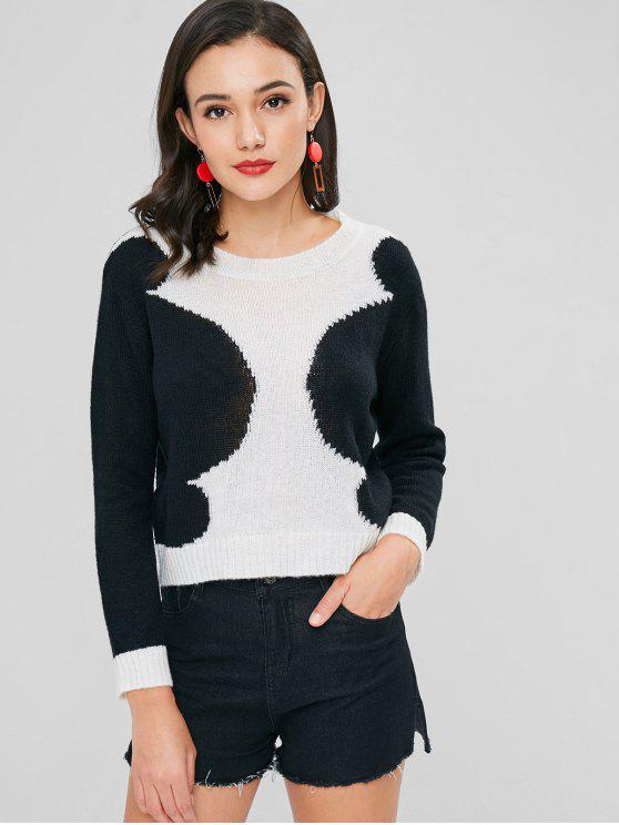 shops Pullover Two Tone Sweater - BLACK L