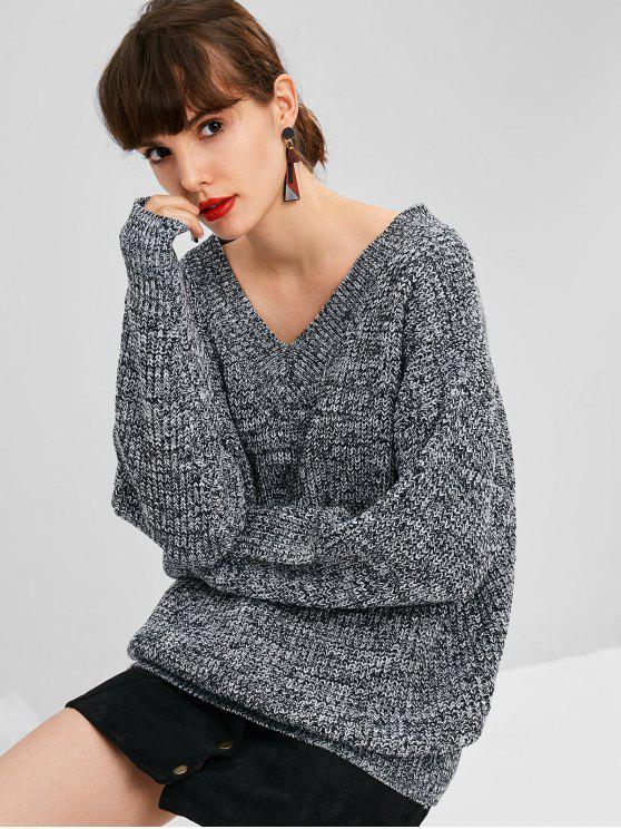 Übergroße Heather Sweater - Grau Eine Größe