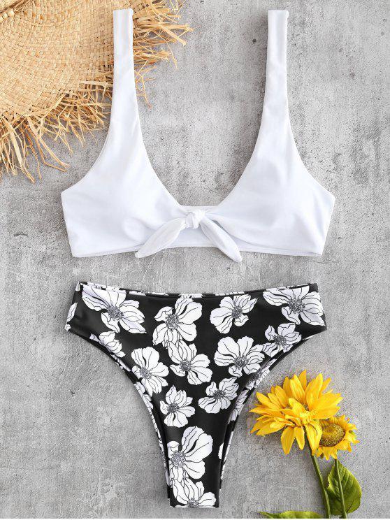 Tied Floral High Rise Bikini Set - أسود L