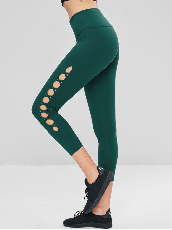 Leggings Sportivi A Vita Alta Con Lacci Incrociati - Verde Mare Medio  L
