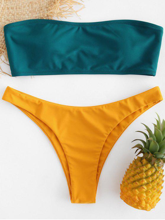 affordable Bandeau Two Tone Bikini Set - DEEP GREEN S