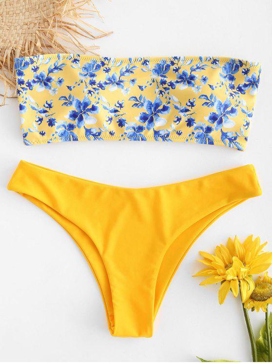 online Floral Strapless Bikini Set - BRIGHT YELLOW S