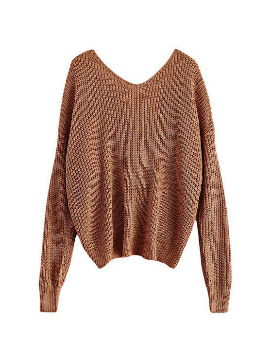 ladies V Neck Twisted Back Sweater - KHAKI ONE SIZE