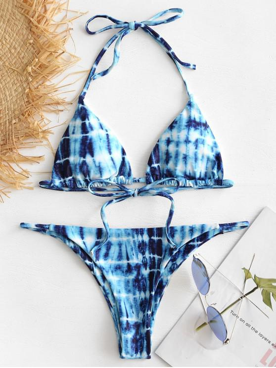 womens Tie Dye Halter Bikini Set - BLUE S