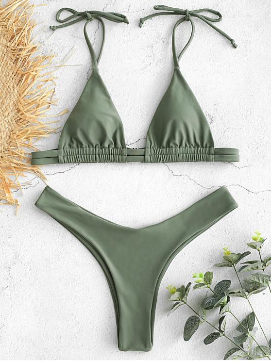 outfits Tie Shoulder High Leg Bikini Set - SEA GREEN L