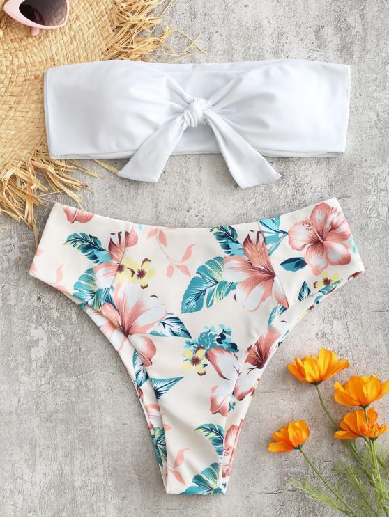 Bandeau Hoch Taillierter Blumen Bikini - Weiß L