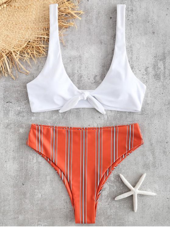 shops Tie Front Striped Bikini Set - CHESTNUT RED L