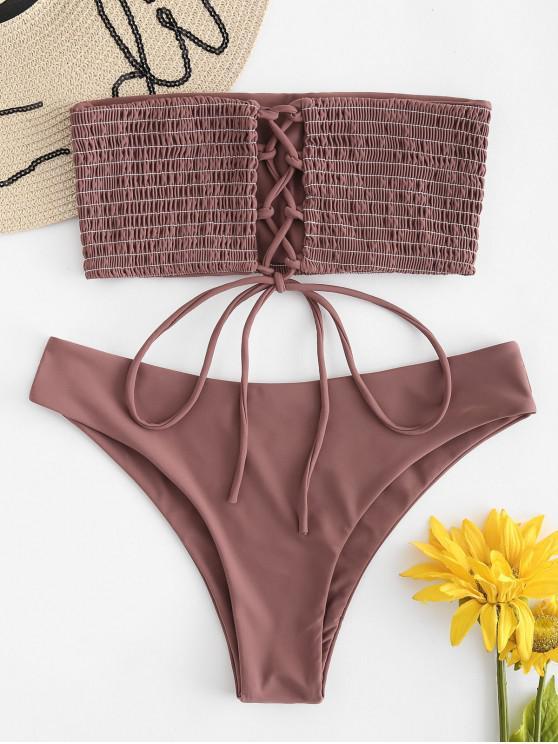 ee3de73f7bd5d 31% OFF   HOT  2019 ZAFUL Lace-up Smocked Bikini Set In ROSY FINCH ...