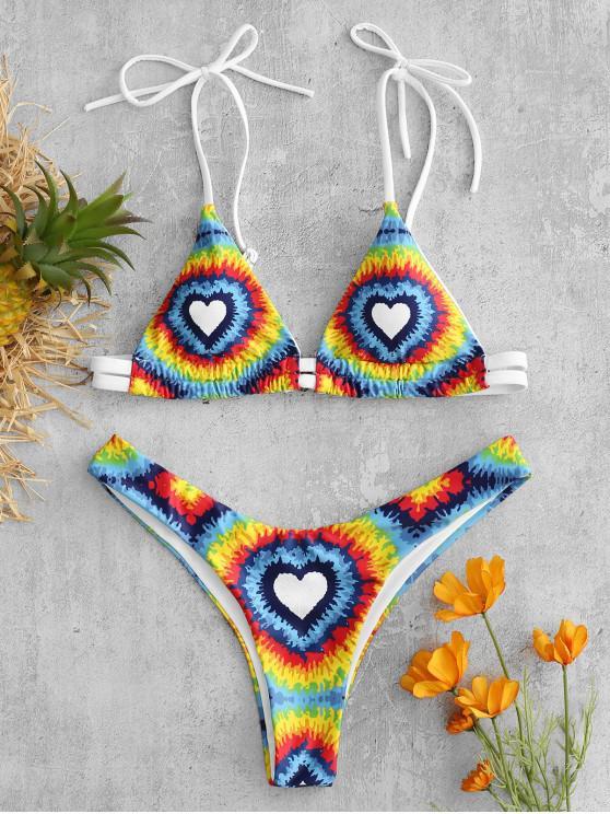 outfit ZAFUL Tie Dye Heart Bikini Set - MULTI S