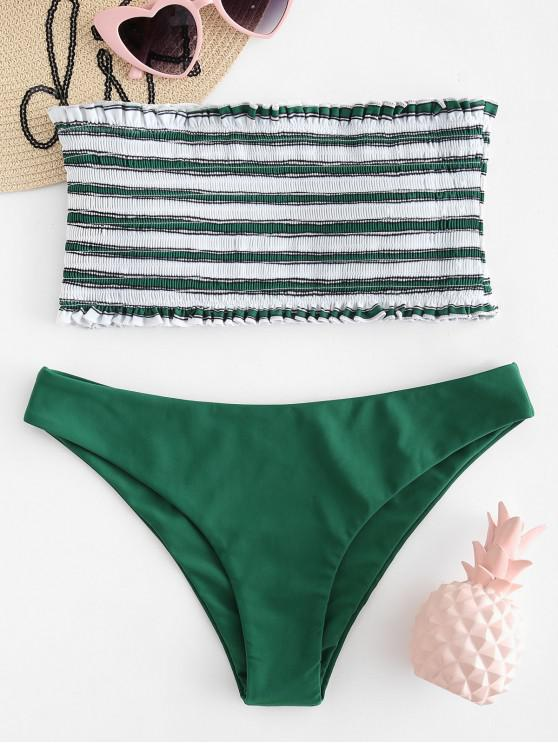 hot ZAFUL Stripe Smocked Bandeau Bikini Set - MEDIUM SEA GREEN L
