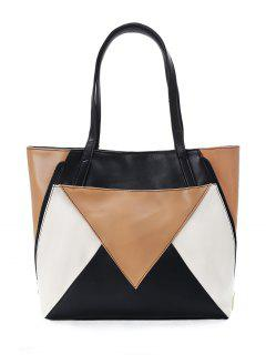 Patchwork Geometric Contrasting Color Shoulder Bag - Black