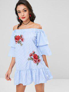 Applique Striped Drop Waist Dress - Sky Blue S