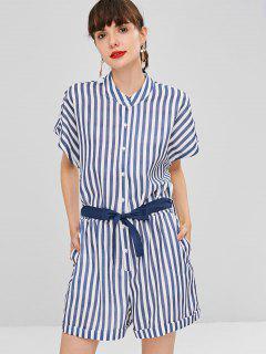 Buttoned Striped Side Pockets Romper - Multi L