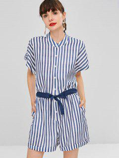 Buttoned Striped Side Pockets Romper - Multi S