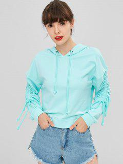 Cinched Sleeves Drawstring Hoodie - Electric Blue S