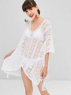 Hollow Out Crochet Vestido Alto Bajo - Blanco
