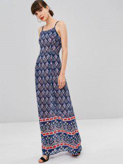 Printed Bohemian Cami Dress - Cadetblue S