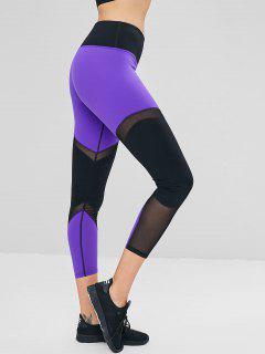 Mesh Panel Color Block Sports Leggings - Indigo L