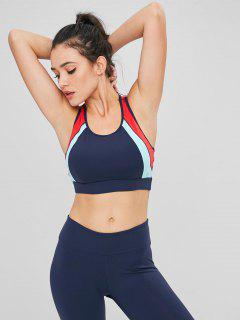 Color Block Cutout Racerback Sports Bra - Dark Slate Blue L
