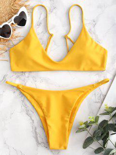 Gepolstertes Niedrige Taille Bikini Set - Niedliches Gummi Gelb L