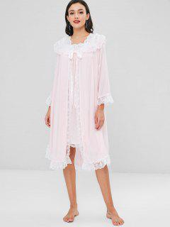 Lace Trim Flounce Nightgown Set - Pink