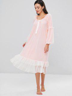 Mesh Flounce Lantern Sleeve Night Dress - Pink L