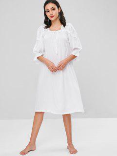 Flare Sleeve Midi Nightgown Dress - White S