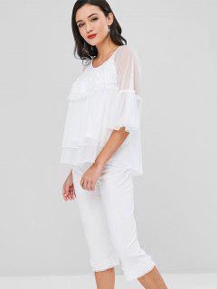 Ensemble Pyjama Haut En Tulle à Plusieurs Niveaux Avec Pantalon Corsaire  - Blanc