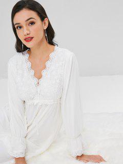 Robe De Chambre Longue En Maille Avec Empiècements En Dentelle  - Blanc Xl