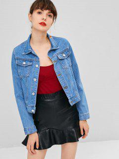 Button Up Pockets Denim Jacket - Denim Dark Blue Xl